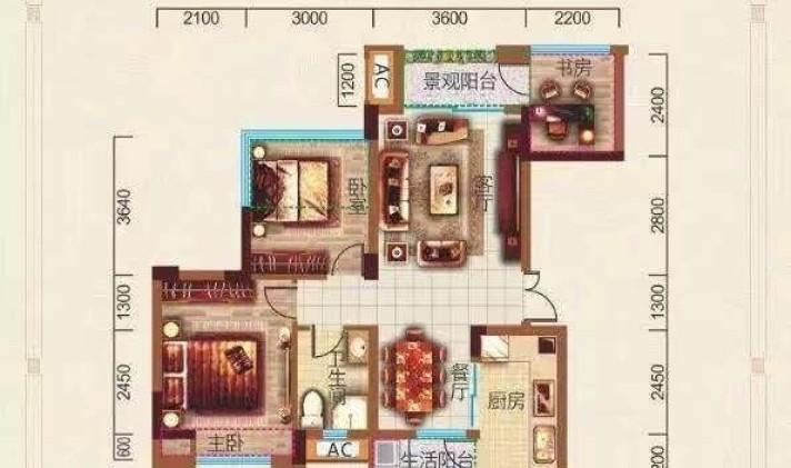 简阳市射洪坝街道 华盛国际 2室2厅1卫 97平米